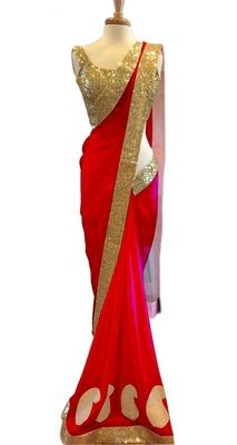 Red Lotus Bollywood Designer Beautiful Sarees Bollywood Sarees Online on Shimply.com