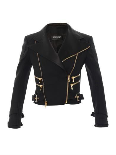 Perfecto satin-lapel wool-twill jacket | Balmain | MATCHESFASH...
