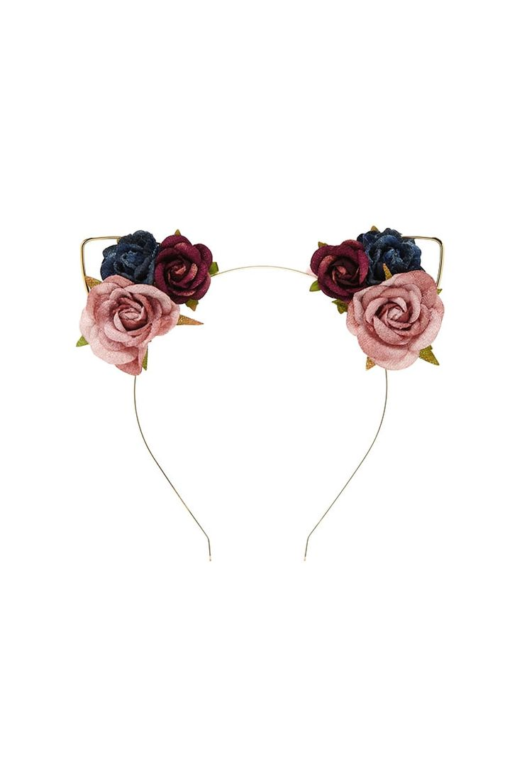 Floral cat ears headband - $4.90 and like OMG! get some yourself some pawtastic adorable cat apparel!