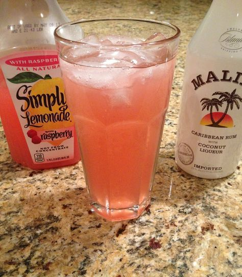 Raspberry Lemonade Cocktail   Ingredients: 1 container Raspberry lemonade 1 bottle Malibu Rum Ice Directions: In a glass full of ice, pour the Malibu Rum about 1/4 of the way up. Add the lemonade next, filling glass the rest of the way. Stir and enjoy. *If you prefer your drink frozen, pour into blender with ice and blend.