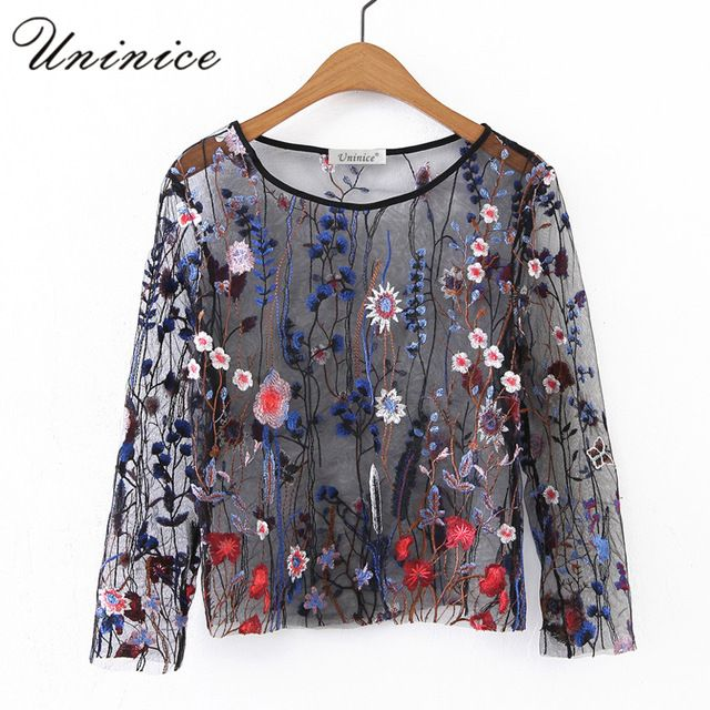 Good price UNINICE Flower Embroidery Blouse Shirt Women Tops Sexy Mesh See-through Lace Short Blouse Women's Clothing Designers Brand Hot just only $10.09 with free shipping worldwide  #womanblousesshirts Plese click on picture to see our special price for you