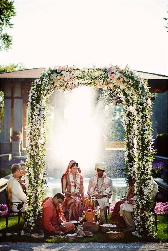 Vrinda comments: to give you an idea of the Indian ceremony. Bride and groom sit indie with the priest and the two sets of parents sit on either side of the arch.