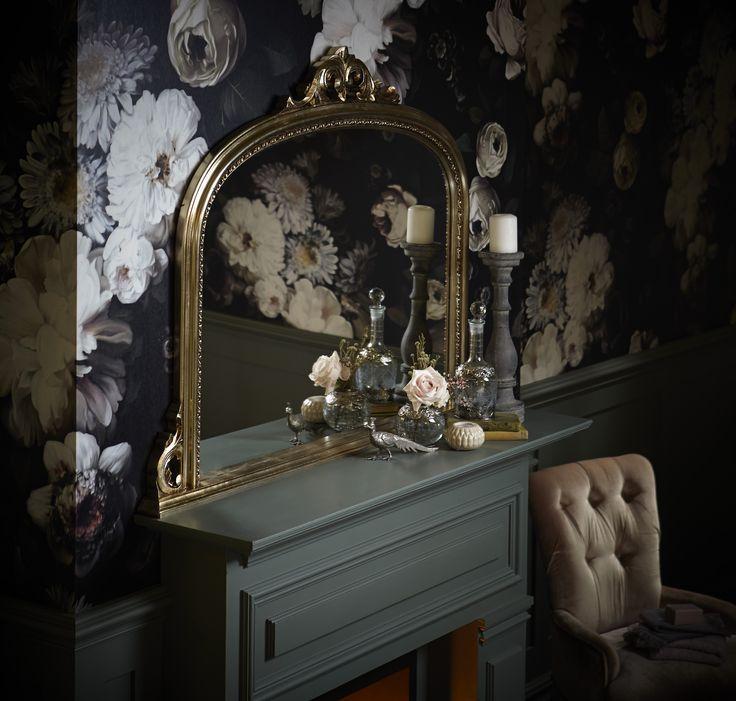 Heritage Bathrooms Statement Victoria Archway Mantle Mirror with statement floral wallpaper