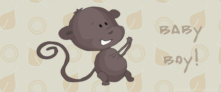 Vectorised illustration of cheeky baby monkey.  - by Startled Squid Design Group www.startledsquid.com
