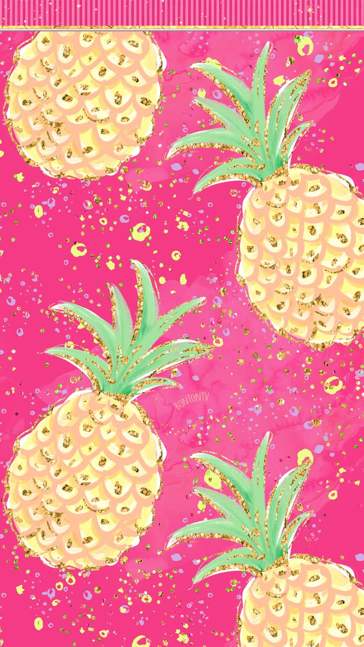 Phone Wallpapers HD Cute Glitter Hot Pink and Colorful Summer Pineapple – by Bon…