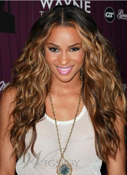 Ciara Hair Gorgeous Long Wavy 24 Inches Chocolate Color 100% Human Remy Hair Lace Wig: wigsbuy.com