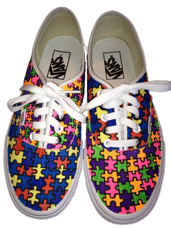 Puzzle piece vans shoes These are a pair if by CrazyCustomKicks, $75.00