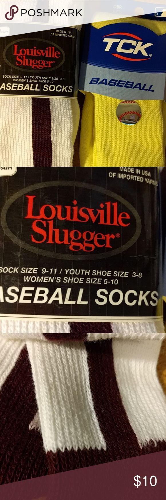 BUNDLE Youth Baseball Socks 2 pair White with Brown & 1 pair Yellow. White size 9 -11 fits youth size 3-8 Yelliw size M fits shoe size  7-10. Accessories Socks & Tights