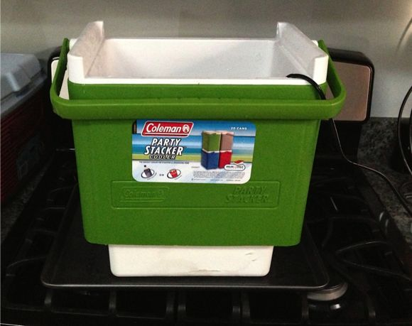 Another way to make a clear ice block using  a modified cooler.