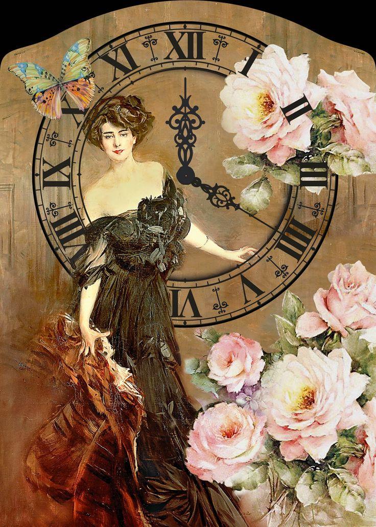 decoupage clock vintage http://artcreatorsall.blogspot.gr/p/blog-page_3.html
