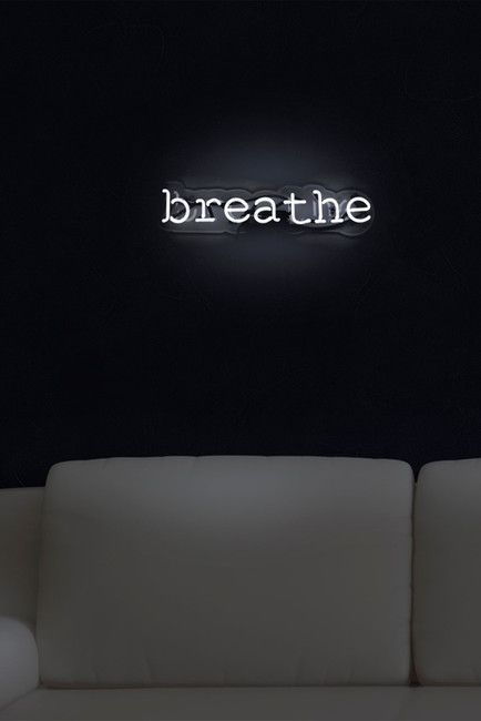 Oliver Gal 'Breathe' Neon Sign  essentials for a minimalist's  bedroom
