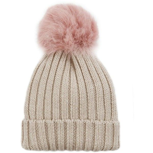 Jocelyn Women's Pink Shearling Lamb Pom Hat (£87) ❤ liked on Polyvore featuring accessories, hats, beanies, head, beanie cap hat, pompom hat, pom pom beanie, shearling hats and pink beanie