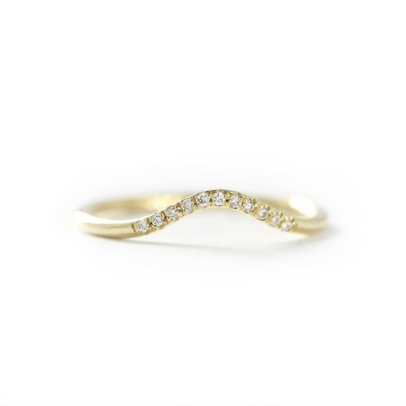 Curved Diamond Wedding Band Stackable Dainty 14k by KHIMJEWELRY