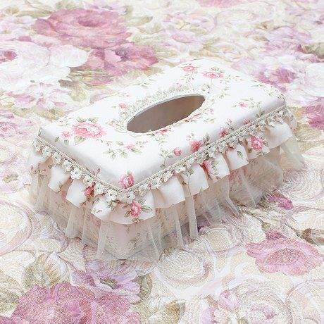 Amazon.com - Sweet lace cloth tissue box tissue pumping paper box Desktop napkin Storage Box decoration paper canister tissue holder cover paper handkerchief case tissue dispenser home ornaments -