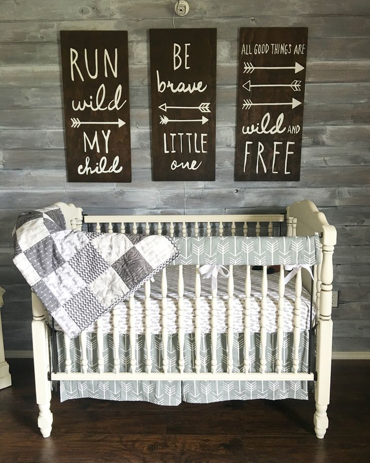Woodland theme nursery. Gender neutral. Grey and white. Rustic. Baby Shuck nursery