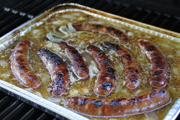 "Grilled ""Hot Tub"" Beer Brats -this is how we used to eat them when i lived in WI"
