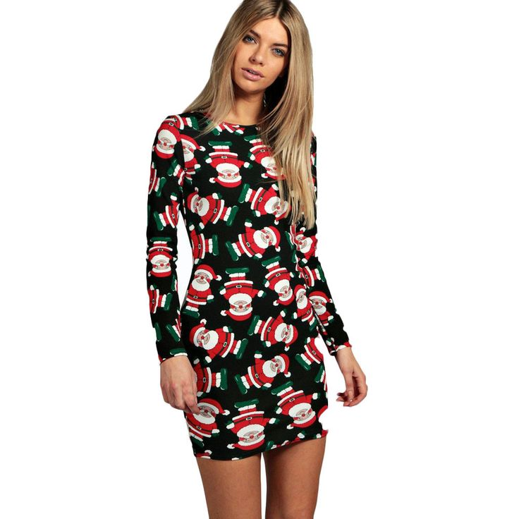 Fashion Ladies Women Dress plus size Long Sleeve lovely Santa Printing Christmas Party mini Dress vetement femme vestido curto#y