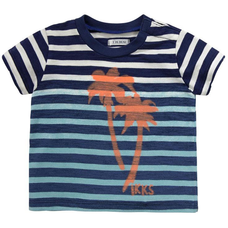 Ikks Navy blue striped T-shirt Prints - 70900 | Melijoe.com