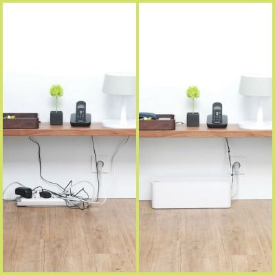 Brilliant cord management solution from Bluelounge. You can fit a whole powerstrip inside.