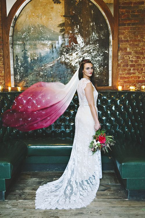 Wine dip dyed silk tulle wedding veil with beaded crystal floral vine. Worn with a Rue De Seine lace wedding dress. #themoodyromantics Kerry Ann Stokes photo/ Jonica Moore Studio