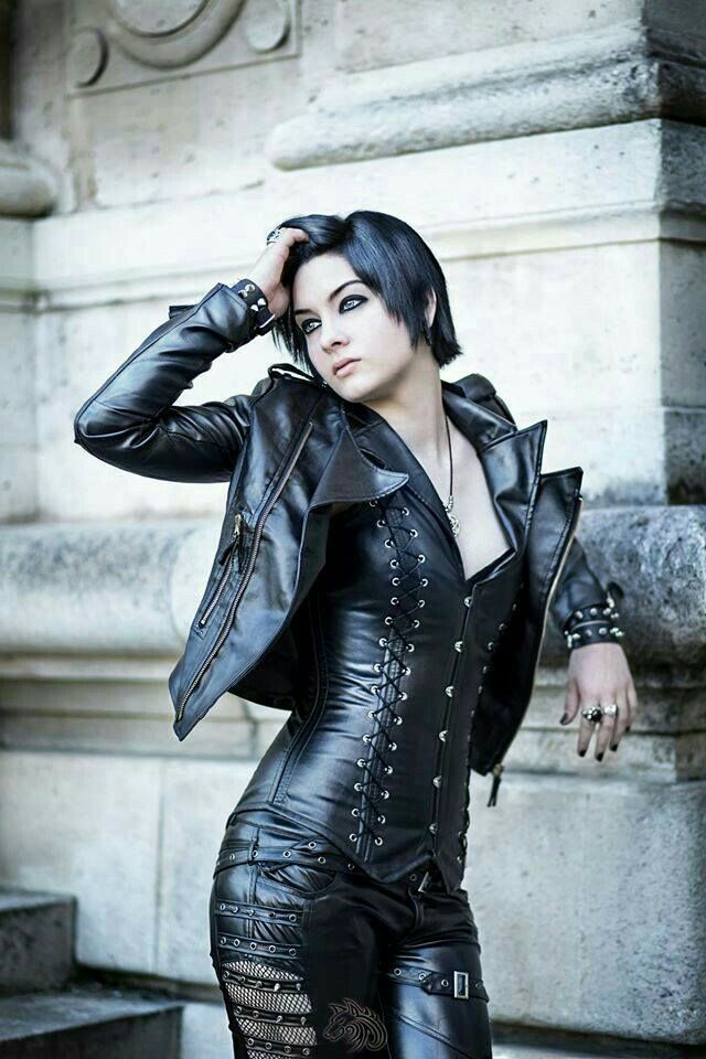 Cropped black leather jacket bustier buckled leather pants goth fashion