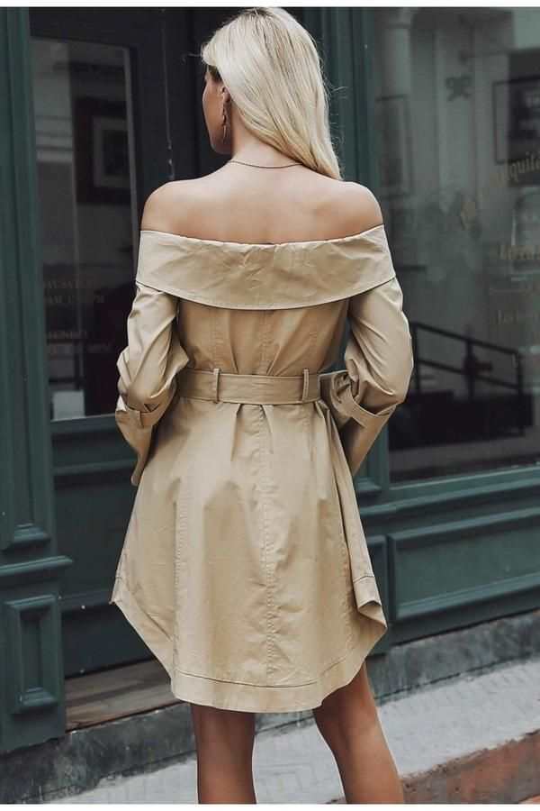 7d2ff81c281f Simplee Sexy off shoulder trench dress women Elegant khaki outerwear dress  Double breast sash casual autumn winter jacket female