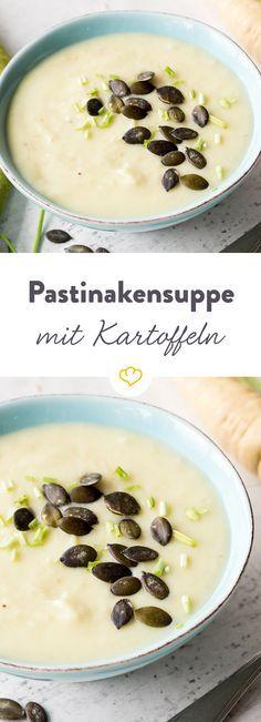 Heute gibt es Pastinake und Kartoffel vereint. Und zwar in einer cremigen Suppenköstlichkeit - mit Speck, Kürbiskernen und Schnittlauch verfeinert.