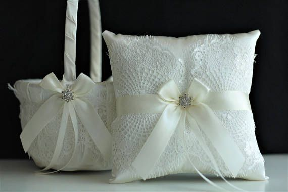 Off White Wedding Set Lace Ring Bearer Pillow And Satin