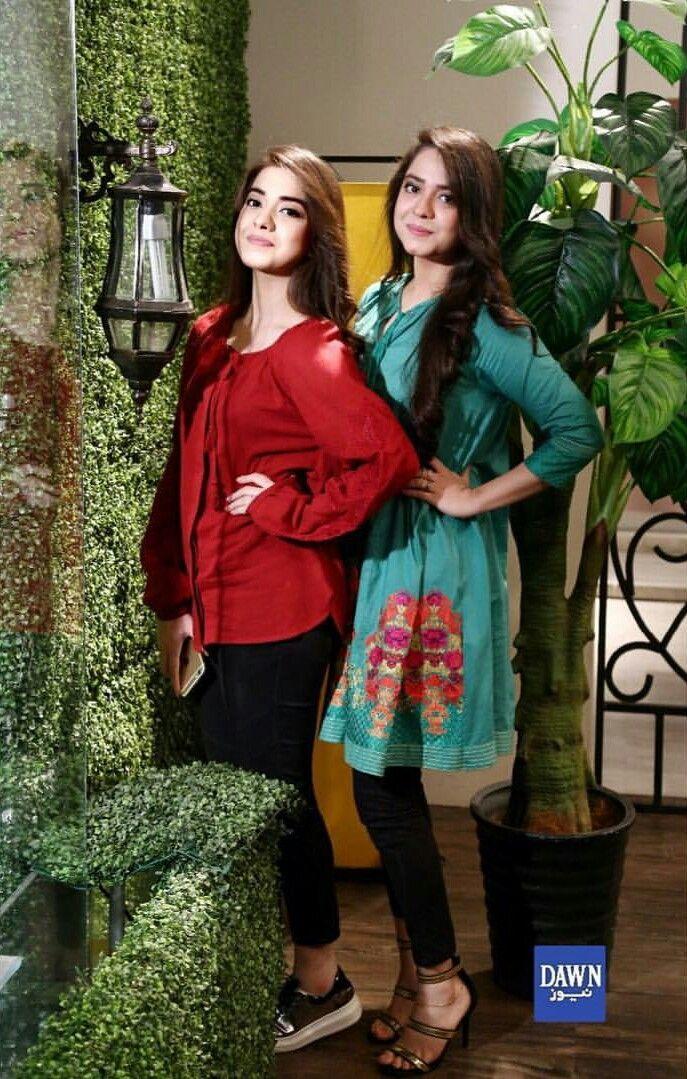 "Beautiful Sisters Sara and Arisha Razi Khan on Set of Morning Show "" Chai Toast Our Host "" of Dawn News! ❤ #Beautiful #ArishaRazi #SarahRazi #YoungPakistaniActress #YoungGirlFashion #PakistaniCelebrities"