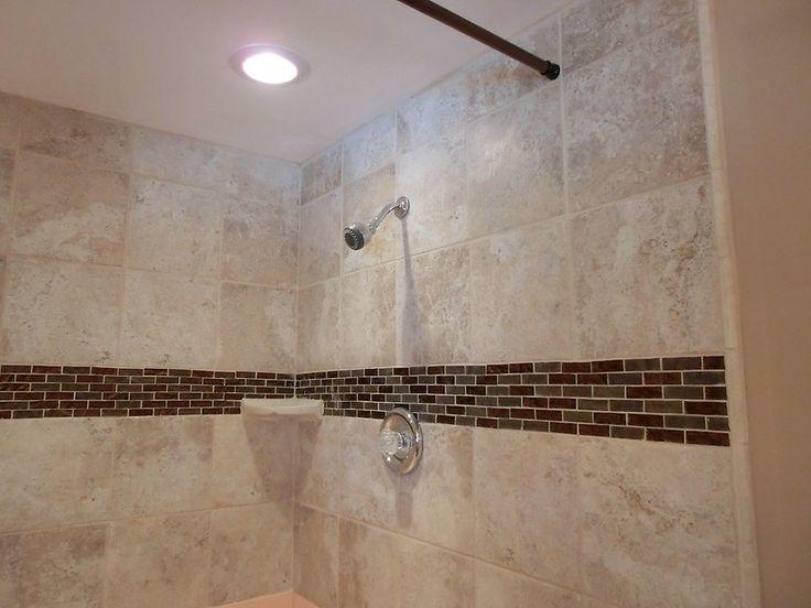 #Bathroom Use mosaic tile highlights on wall
