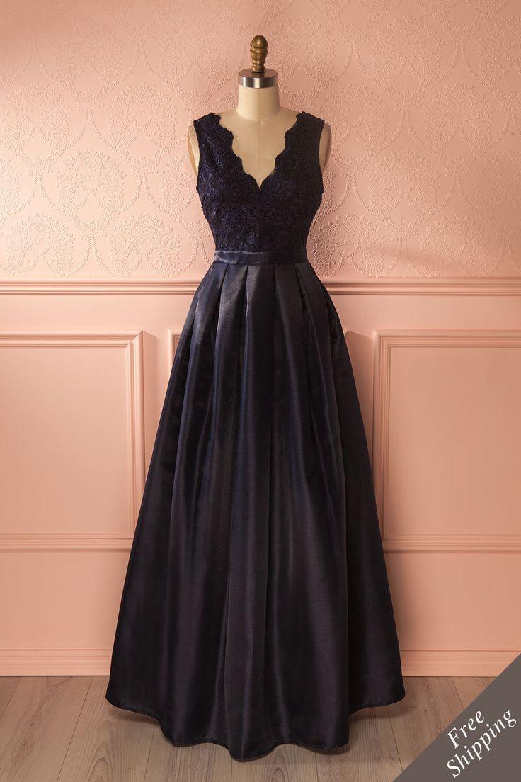 Lauriana - Navy shimmering evening dress www.1861.ca