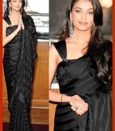 Buy Black plain net saree with blouse aishwarya-rai-saree online