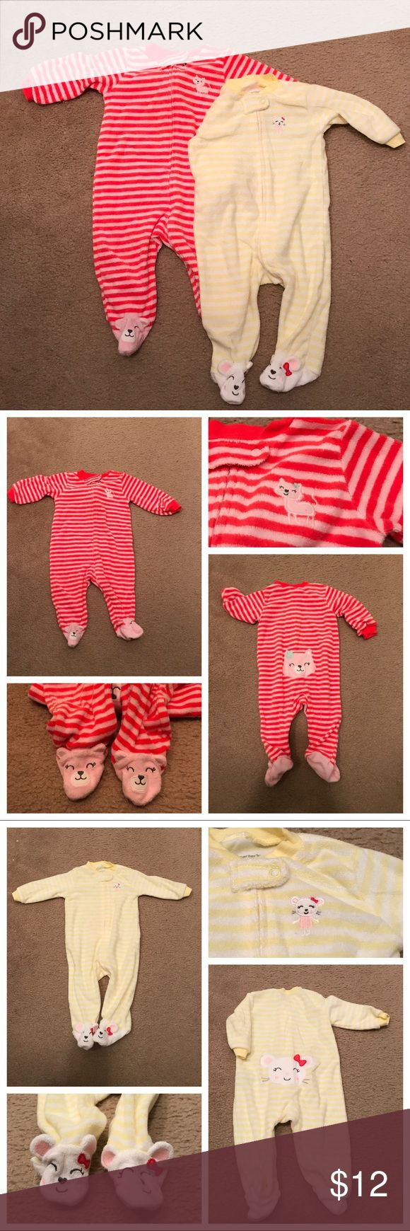2 sets of terry cloth footy pajamas This is for the set of 2 hardly used terry cloth pajamas. One is pink/orange striped, zip up front, a kitten on the left chest, kitty feet and kitty on the booty. The second is yellow/white stripedX zip up front, a ballet mouse on the front left, title mouse feet and a mouse on the booty They were each only worn a few times and have been stored in a sealed bin for the last few years. No noticeable stains or defects that I could see. Carter's One Pieces…