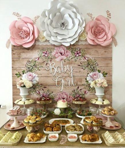30 ideas baby shower girl food table flower