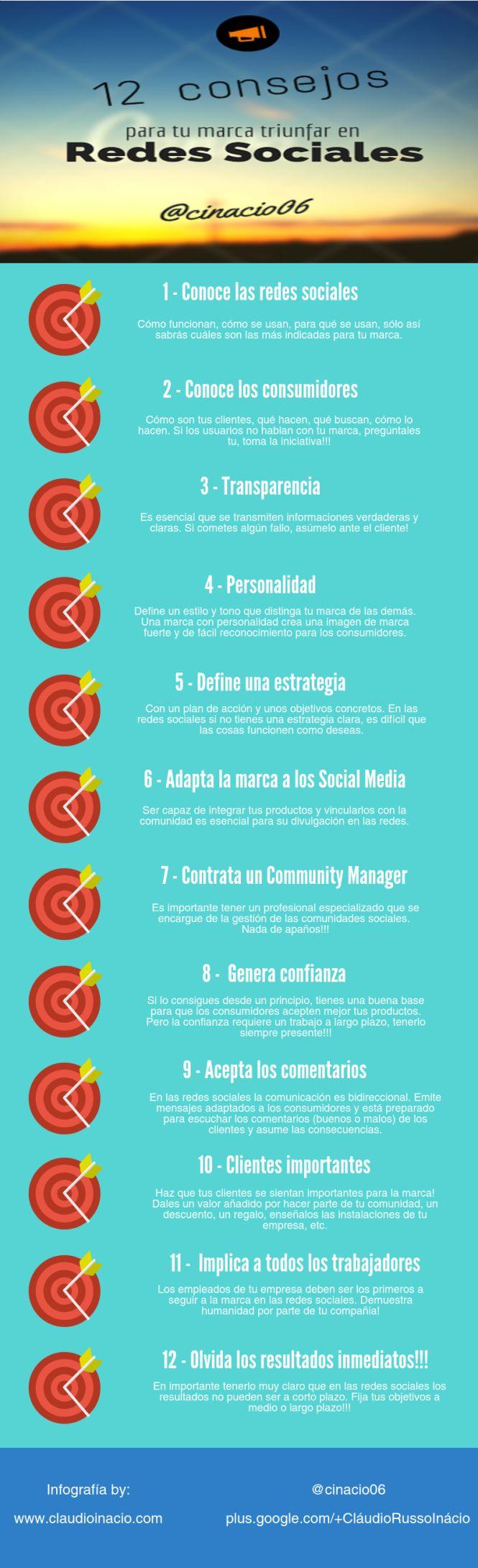 12 consejos para que tu marca triunfe en Redes Sociales #infografia #marketing #socialmedia
