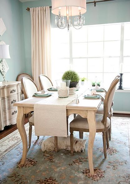 Dining Room, cream table, cream furniture - This is exactly the look I want - walls are already the same color!