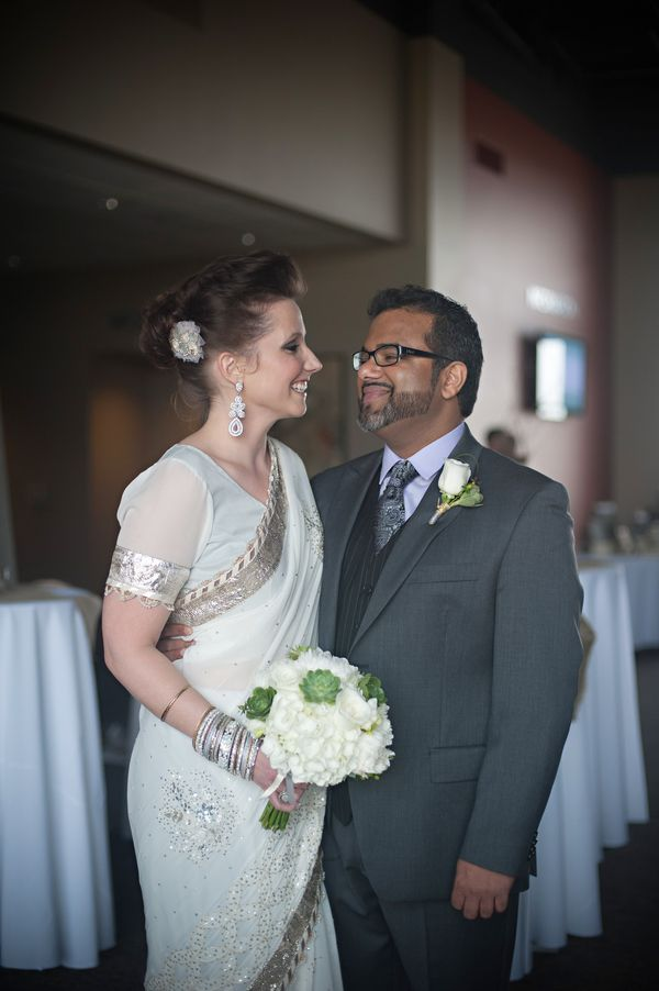An Indian-influenced wedding with a little bit of Pixar | Offbeat Bride  Freakin' love the sari...might do this is leiu of a wedding dress...whatcha think?