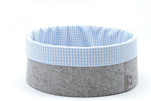 Filz Korb Aufbewahrung Brötchen Korb rund 100% Merino Woll Filz Hand Made in Germany ⌀ 20 cm hell grau meliert Innenfutter hellblau weiss karriert ESTA-Design http://www.amazon.de/dp/B00VQ1ZYJ4/ref=cm_sw_r_pi_dp_5S.ivb1248M9D
