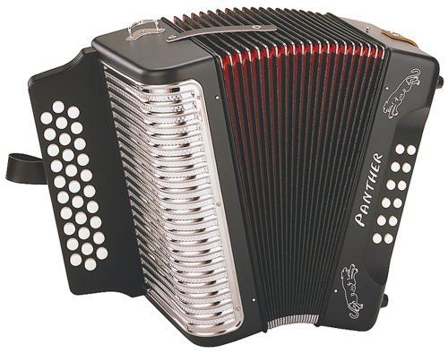 "New Hohner Black Panther Accordion by Hohner Panther. $415.49. # New double-strap brackets # 31 treble keys # 12 bass/chord buttons # 2 sets of treble reeds # Plays in G, C, and F # Matte Black Finish # Black/Red Bellow # Silver Mesh Grill # Black Padded Shoulder Straps (Adj.) # Accordion Music Lesson Book Incl. # 12""H x 7.5""D # 9 lbs. # Great Playability & Sound! # Gear Up and Save Today!. Save 26%!"