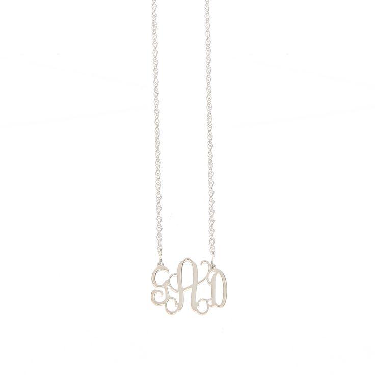 Small Sterling Silver Interlocking Monogram Filigree Necklace
