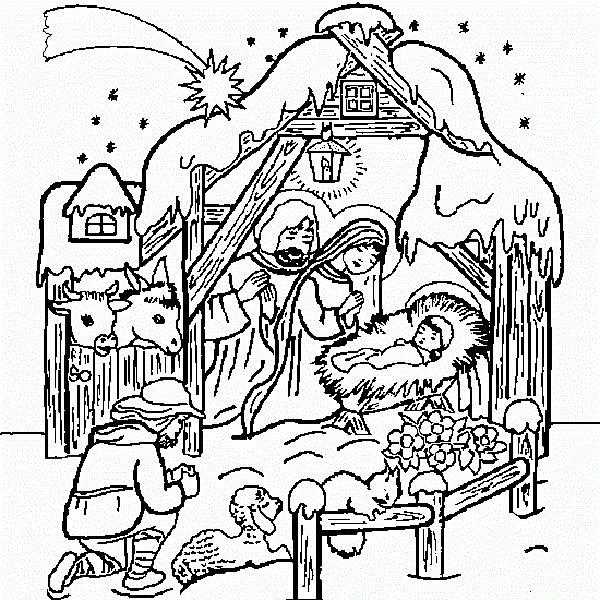Christmas Coloring Pages Jesus Manger