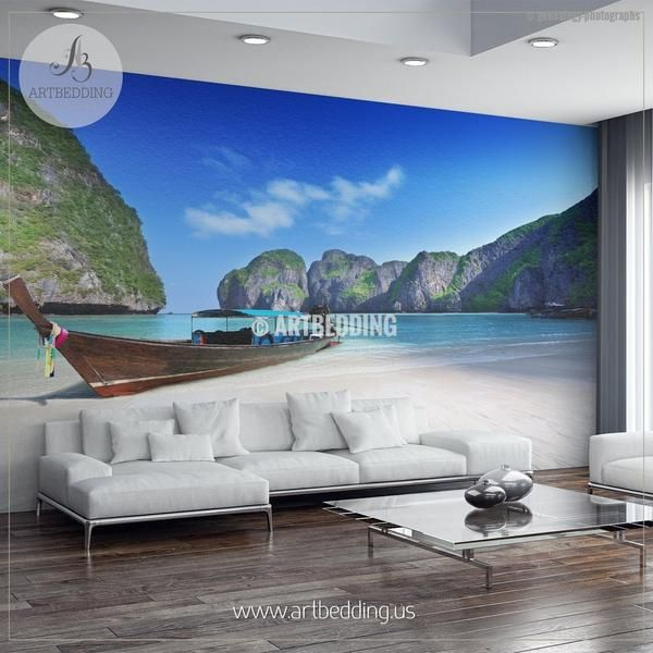 Beached Boat On Beautiful White Sand Phi Phi Islands Wall Mural Self Adhesive Peel Stick Wall Mural In 2020 Wall Murals Wall Shop Interiors