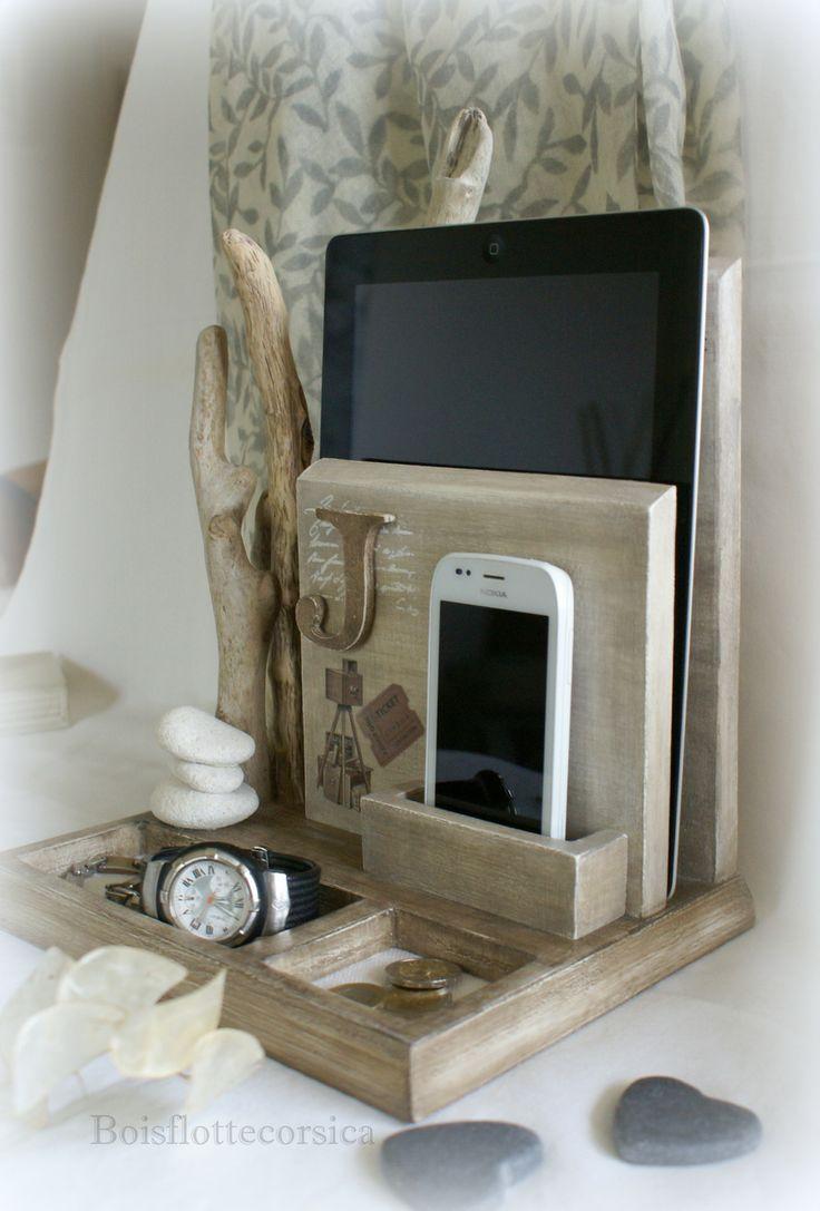 Serviteur - vide poches bois patiné et bois flotté - Pour portable, bijoux, livre , monnaie