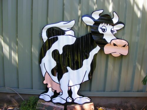 Cow Rustic Recycled Corrugated Iron Metal Garden Art
