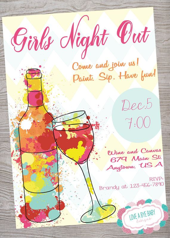Girls Night Out Wine Canvas Paint invitation . printable. digital download