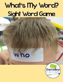 Conversations in Literacy: Sight Word Games for Active Learners.  Can use as center where ask partner questions about the word so student can guess their word and record it