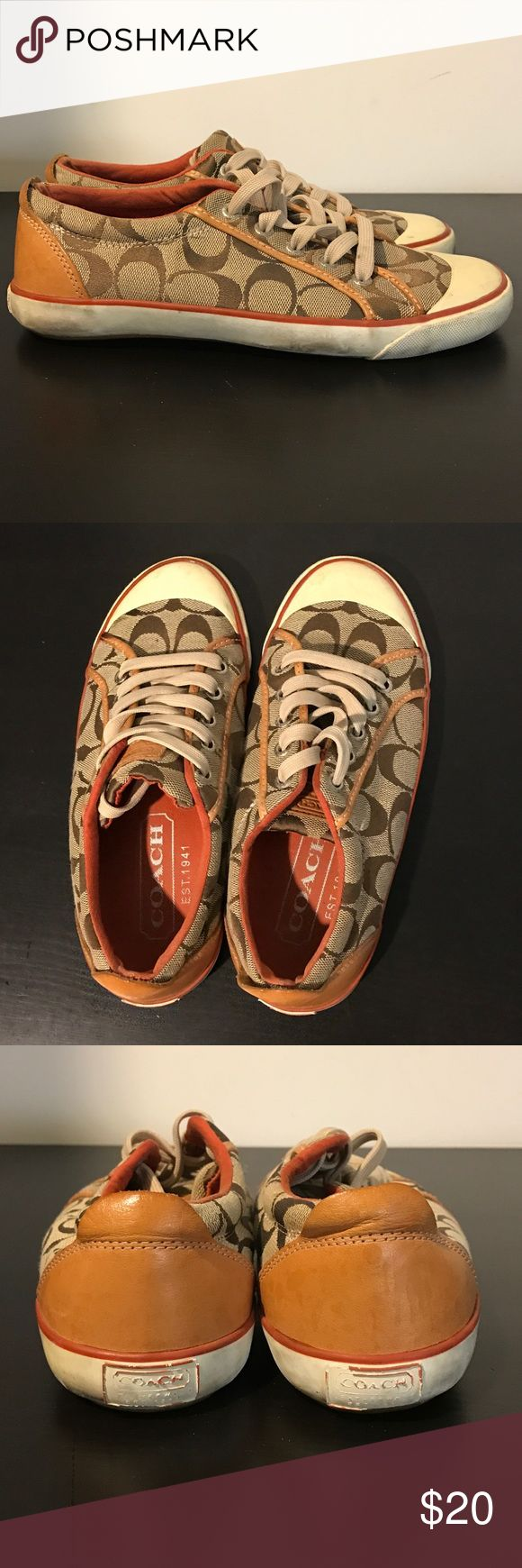 Coach Sneakers Classic Coach sneakers with C monogram pattern.   NOT new... have been loved/worn. Coach Shoes Sneakers