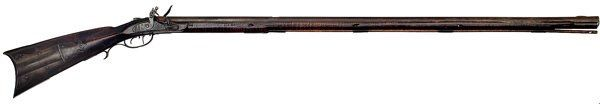 """Full-stock flintlock iron mounted rifle attributed to Abraham Honaker of Pulaski County, Virginia, ca 1820. .45 caliber, 45"""" octagonal barrel, engraved lockplate marked Rodgers Brothers, Philadelphia. Curly maple stock with stop-fluted forestock molding and incised carved lines running parallel with the ramrod channel. From the Wallace Gusler Collection: George Stanford, 1964 to Wallace Gusler, Wallace Gusler 1969 to J. Roderick Moore, to John Ashworth, Mike Tuccori to Wallace Gusler 2010."""