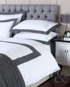 100 Cotton Herringbone Duvet Cover 200 Thread Count Grey White