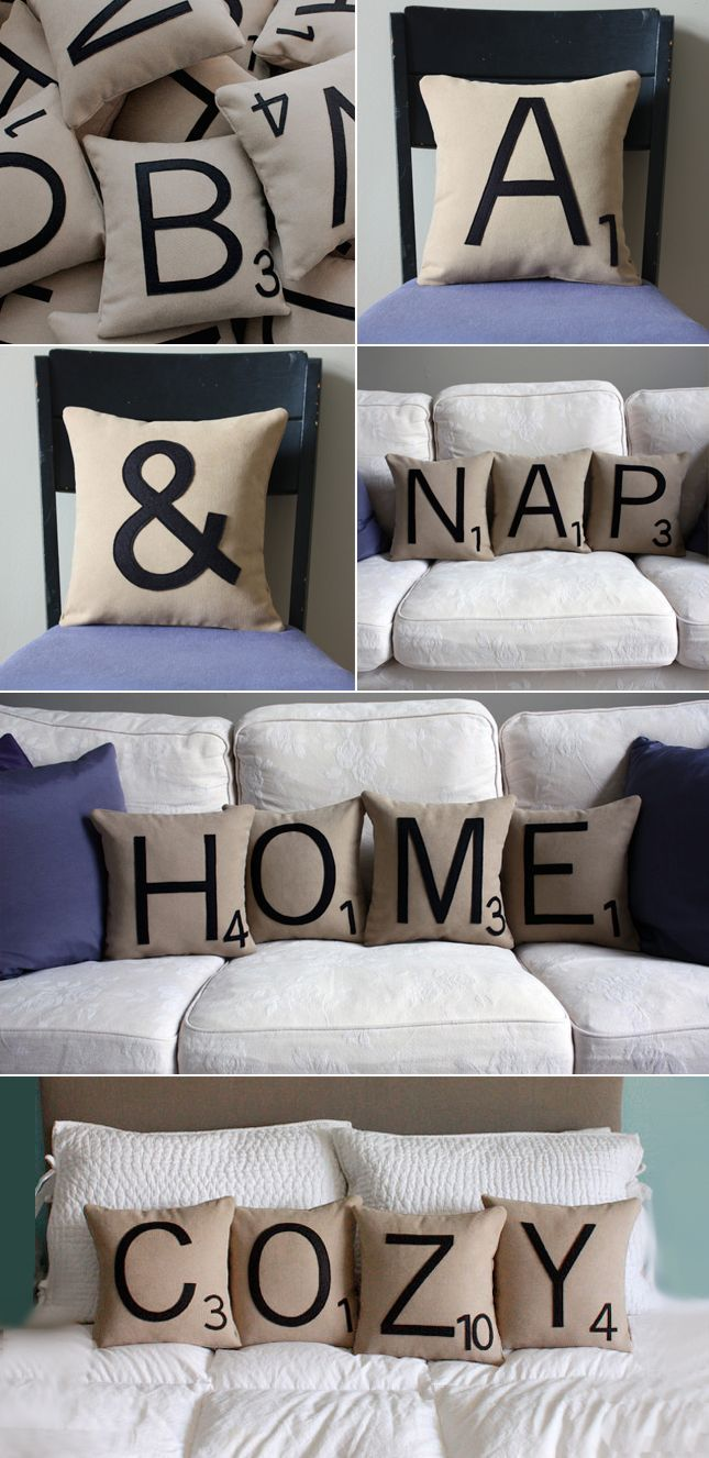 This is soooo cute..Scrabble pillows...we could use this for a home-school spelling lesson for Hope..LOL